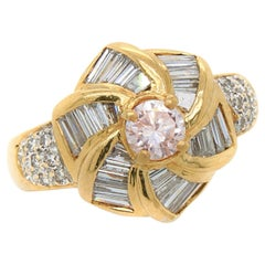 Faint Pink and White Diamond Windmill Ring, 20th Century