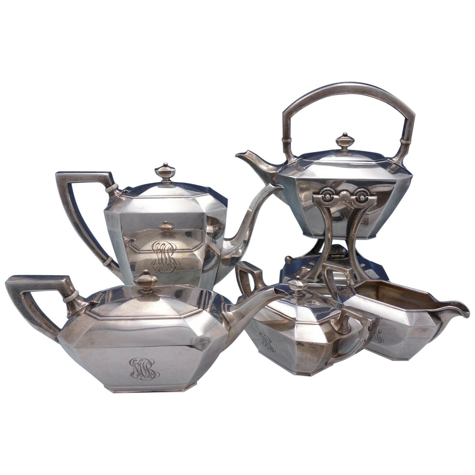 Fairfax by Durgin-Gorham Sterling Silver Tea Set 5-Piece #4 Monogrammed