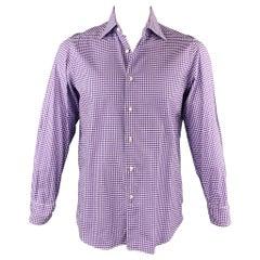 FAIRFAX for BARNEY'S NEW YORK Size L Purple Tattersall Cotton Long Sleeve Shirt