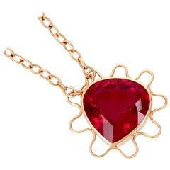 Georg Spreng - Fairy Tale Heart Pendant 18 Karat Rosé Gold Pink Red Rubelite