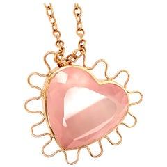 Georg Spreng - Fairy Tale Heart Pendant 18 Karat Rosé Gold Rose Quartz Heart