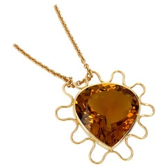 Georg Spreng - Fairy Tale Heart Pendant 18 Karat Yellow Gold with Orange Citrine