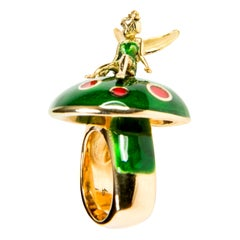 Fairy Tale Red and Green Enamel 18 Karat Yellow Gold Cocktail Ring