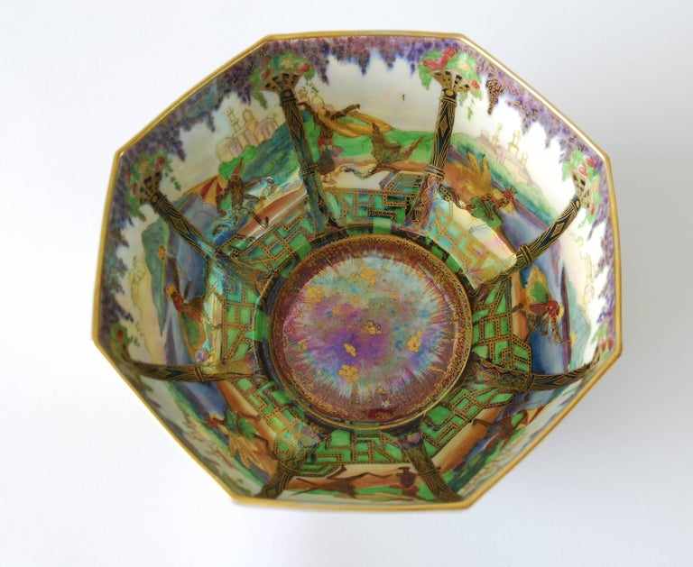 An octagonal fairyland lustre bowl, decorated with Geisha pattern, one of the best loved of Daisy Makeig-Jones' designs.