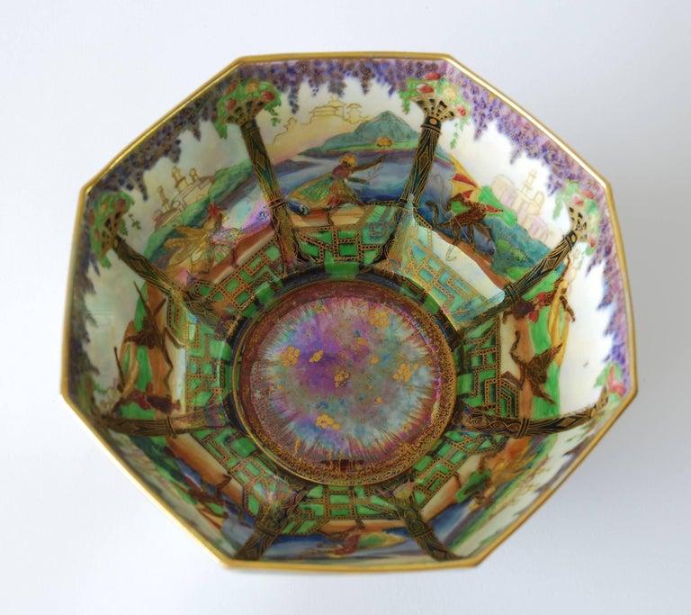 Art Deco Fairyland Lustre Bowl, Geisha Wedgwood, circa 1925 For Sale