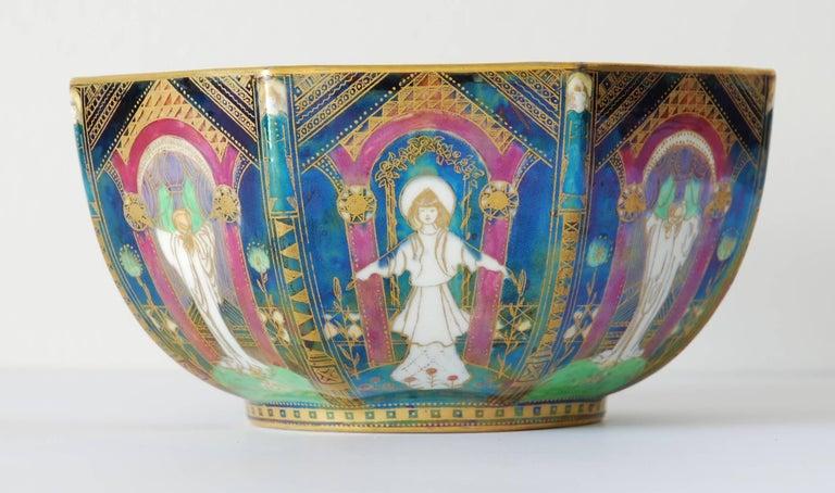Enameled Fairyland Lustre Bowl, Geisha Wedgwood, circa 1925 For Sale