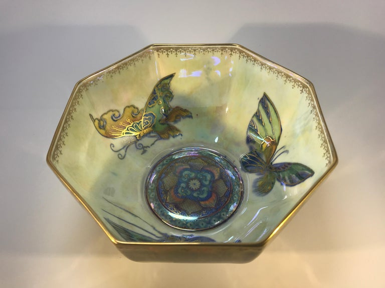 Art Deco Fairyland Lustre Butterfly Octagonal Bowl Daisy Makeig-Jones Wedgwood Deco, 1925 For Sale