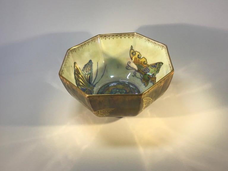 British Fairyland Lustre Butterfly Octagonal Bowl Daisy Makeig-Jones Wedgwood Deco, 1925 For Sale