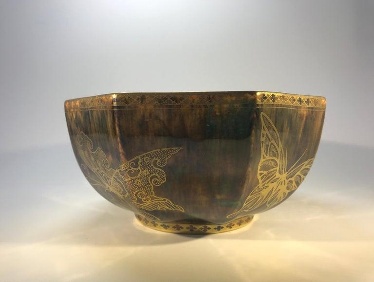 Glazed Fairyland Lustre Butterfly Octagonal Bowl Daisy Makeig-Jones Wedgwood Deco, 1925 For Sale