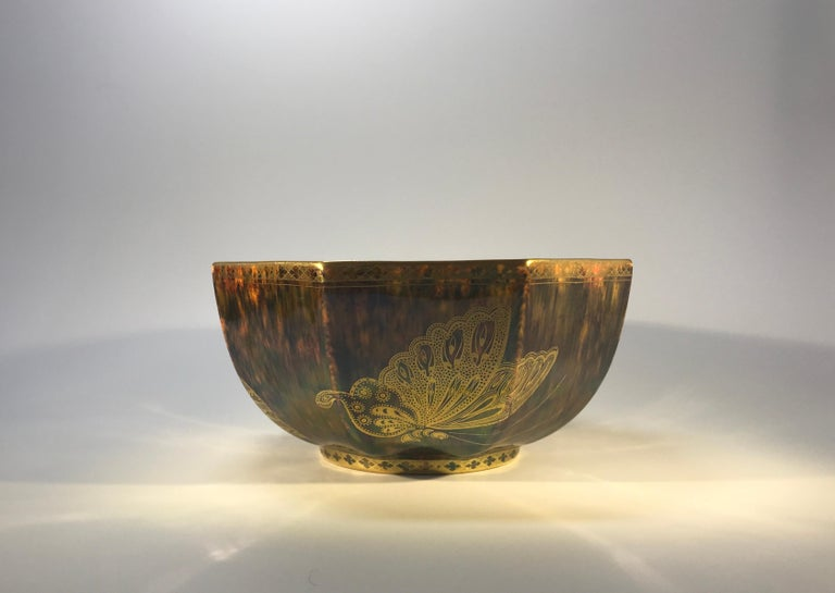 Fairyland Lustre Butterfly Octagonal Bowl Daisy Makeig-Jones Wedgwood Deco, 1925 In Excellent Condition For Sale In Rothley, Leicestershire