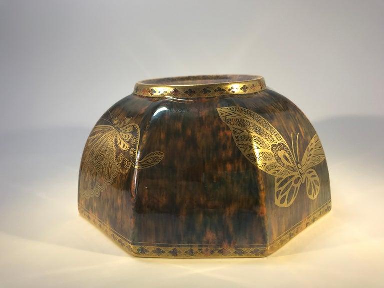 20th Century Fairyland Lustre Butterfly Octagonal Bowl Daisy Makeig-Jones Wedgwood Deco, 1925 For Sale