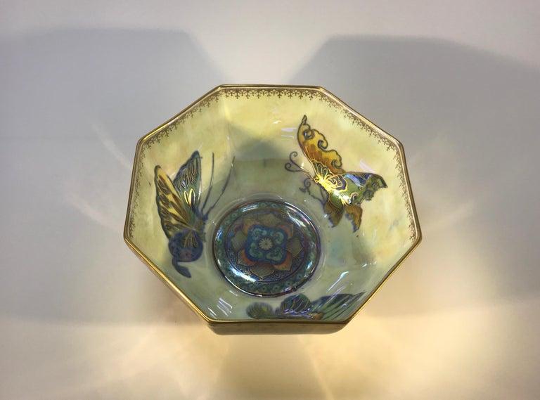 Fairyland Lustre Butterfly Octagonal Bowl Daisy Makeig-Jones Wedgwood Deco, 1925 For Sale 1