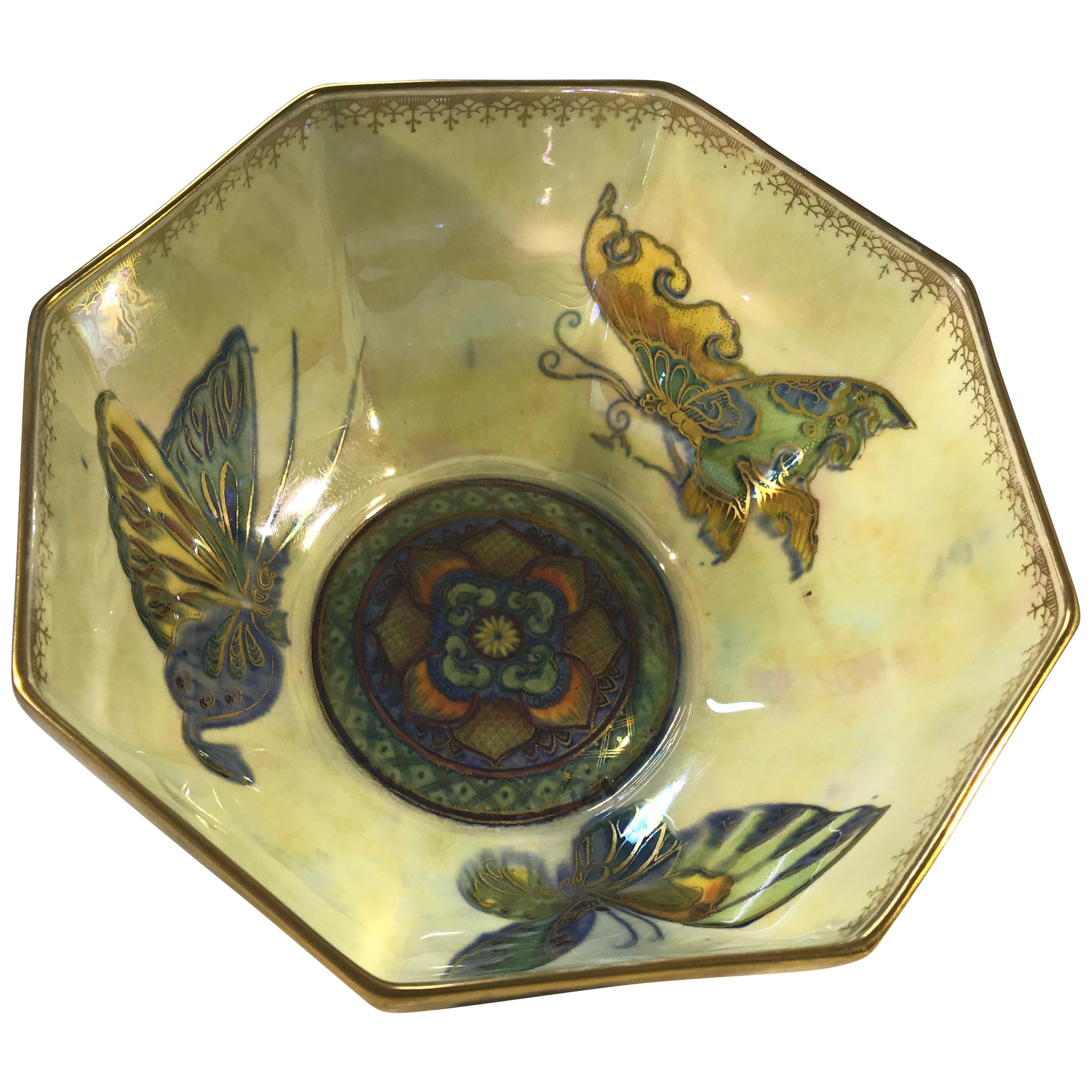 Fairyland Lustre Butterfly Octagonal Bowl Daisy Makeig-Jones Wedgwood Deco, 1925
