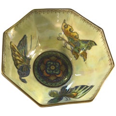 Fairyland Lustre Butterfly Octagonal Bowl Daisy Makeig-Jones Wedgwood Deco, 1925