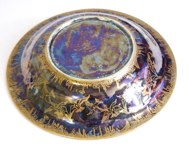 English Fairyland Lustre Lily Tray, Jumping Faun, Wedgwood, circa 1925 For Sale