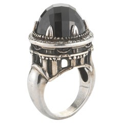 Faith Ann Kiely IX Corinthium Dome Ring in Blackened Silver, Onyx and Diamonds