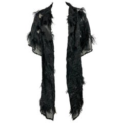 Faith Connexion Black Mesh Lace and Feather Evening Cover Up Coat Jacket