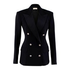 Faith Connexion Black Wool Blend Double-Breasted Blazer - Size US 4