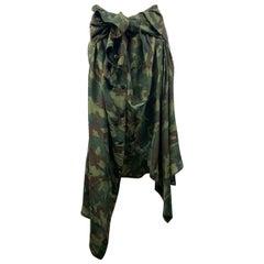 Faith Connexion Green Camouflage Silk shirt Skirt Size M