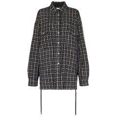 Faith Connexion Oversized Lace-Up Tweed Shirt
