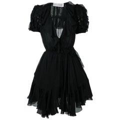 Faith Connexion Puff-Shoulders Silk Dress
