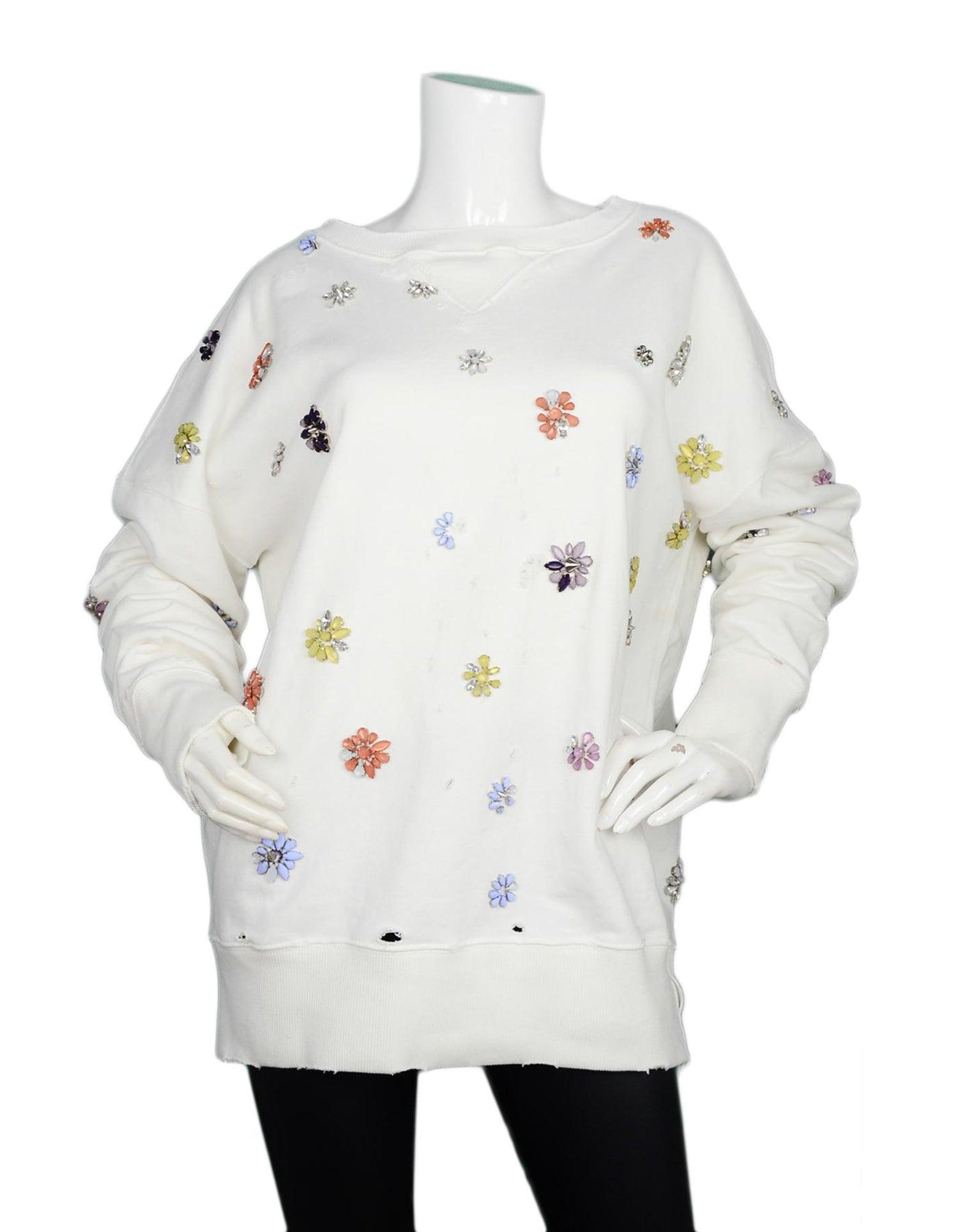 e1cef8083f2 Faith Connexion White Distressed Cotton Sweatshirt W  Jewel Embellishment  Sz L For Sale at 1stdibs