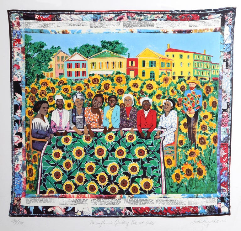 Faith Ringgold Figurative Print - The Sunflower's Quilting Bee at Arles