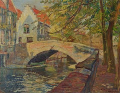 Amsterdam - Mid 20th Century Impressionist Oil of the Canals by Faith Sheppard