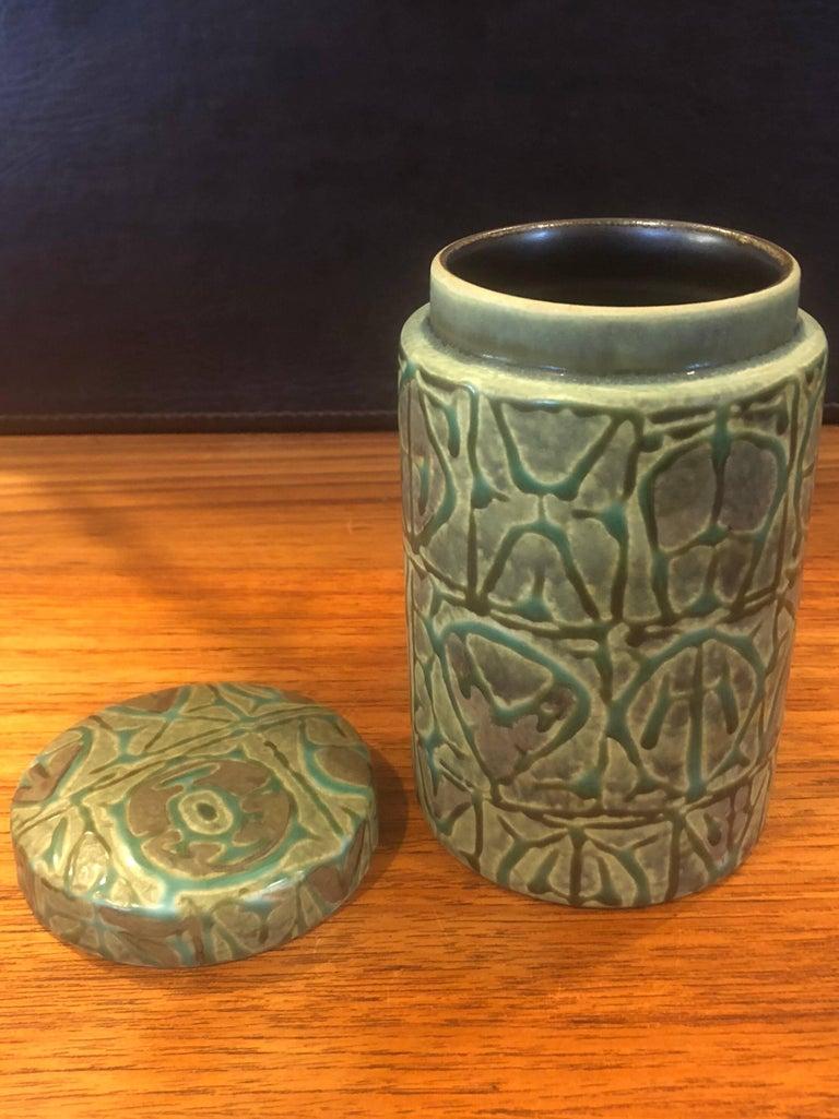 Mid-Century Modern Fajance Ceramic Lidded Jar / Humidor by Nils Thorsson for Royal Copenhagen For Sale