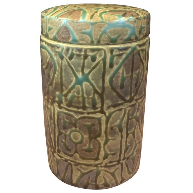 Fajance Ceramic Lidded Jar / Humidor by Nils Thorsson for Royal Copenhagen For Sale