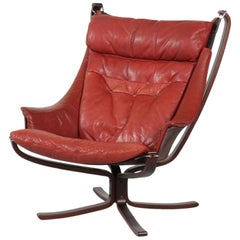 Falcon Armchair by Sigurd Ressell with Red Brown Leather and Plywood Base, 1970s