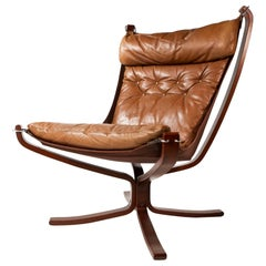 Falcon Chair by Sigurd Ressell for Vatne Møbler in Brown Leather, Norway, 1970s