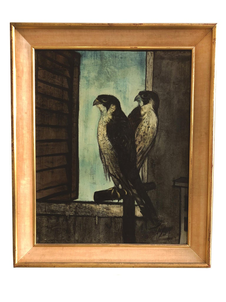Bold lines and a moody palette draw the viewer into this painting of two falcons by Charles Levier (1920-2003), Mid-20th century. Oil on canvas. Signed on lower right. Signed and titled on back of canvas. The painting comes in a giltwood frame with