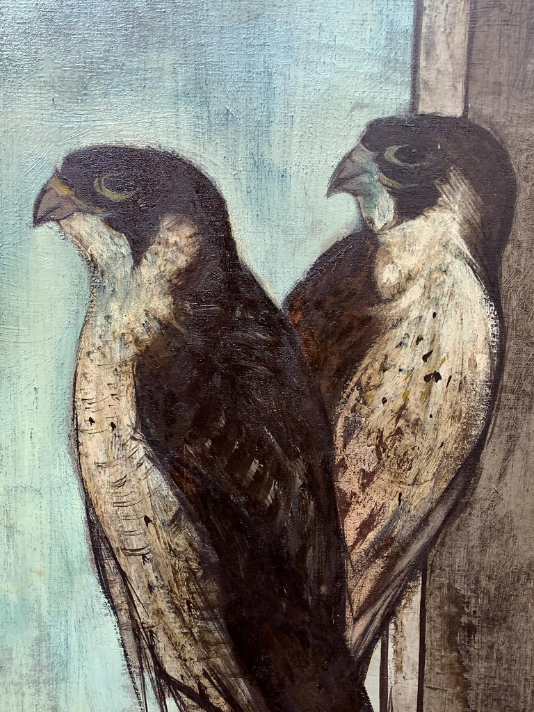 Hand-Painted Falcon II, Oil Painting by Charles Levier For Sale