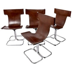 Faleschini Midcentury Chrome and Brown Leather Italian Chairs, 1970s