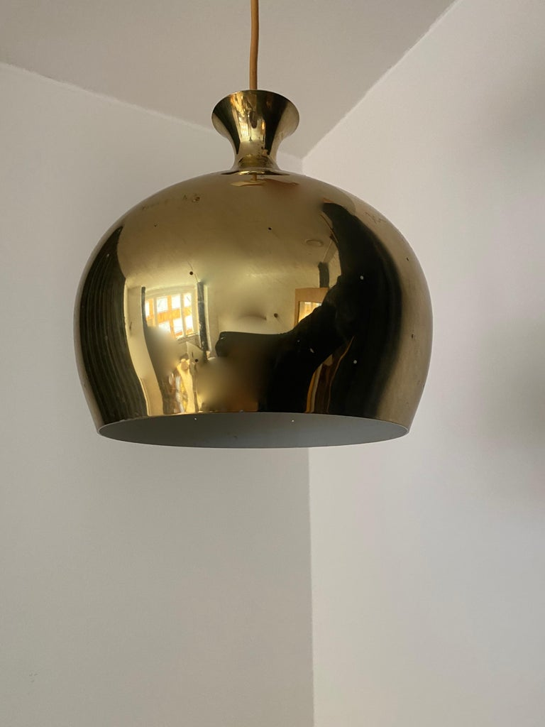 A pendant lamp. Designed and produced by Falkenbergs Belysning, Sweden, 1960s.   Adjustable drop. Plastic cup. Stated dimensions are of pendant excluding drop.