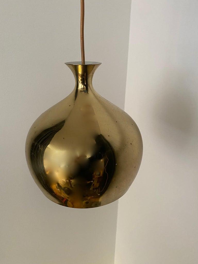 Swedish Falkenbergs Belysning, Pendant Lamp, Polished Perforated Brass, Sweden, 1960s For Sale