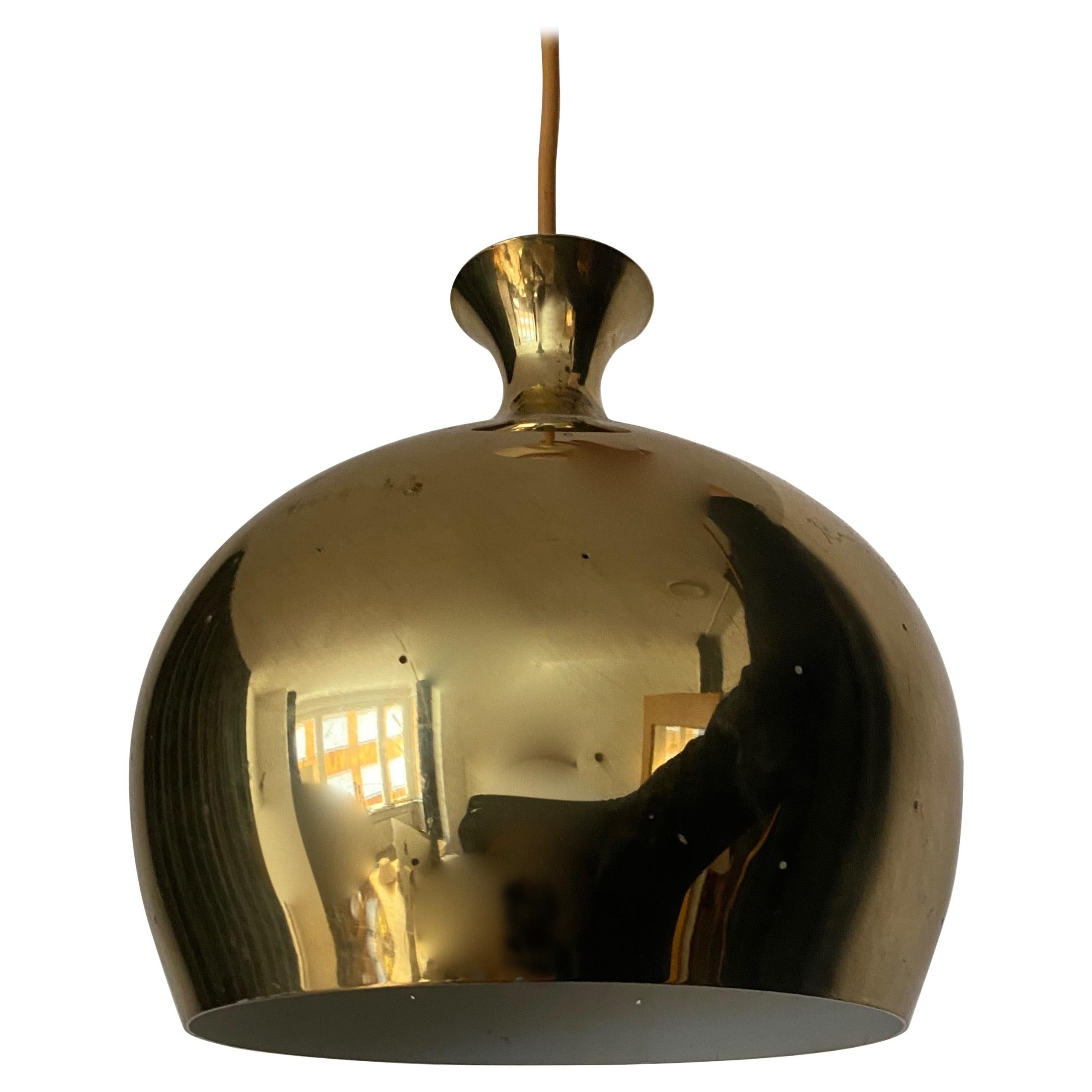 Falkenbergs Belysning, Pendant Lamp, Polished Perforated Brass, Sweden, 1960s