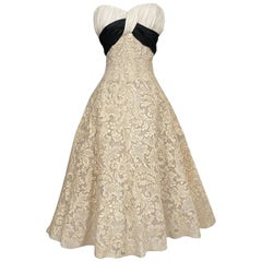 Fall 1954-55 Pierre Balmain Haute Couture Ivory Lace Dress w Black Silk Bow