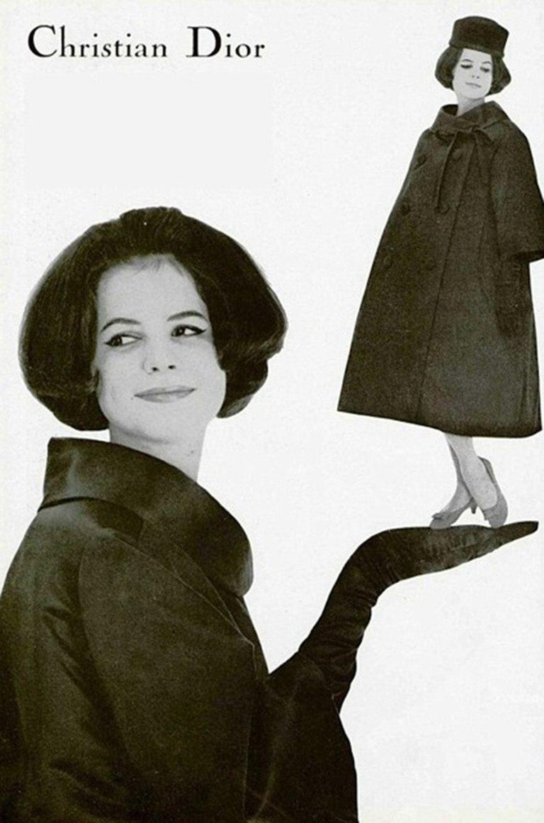 Fall 1958 Christian Dior by YSL Haute Couture Courbe Line Coat For Sale 7