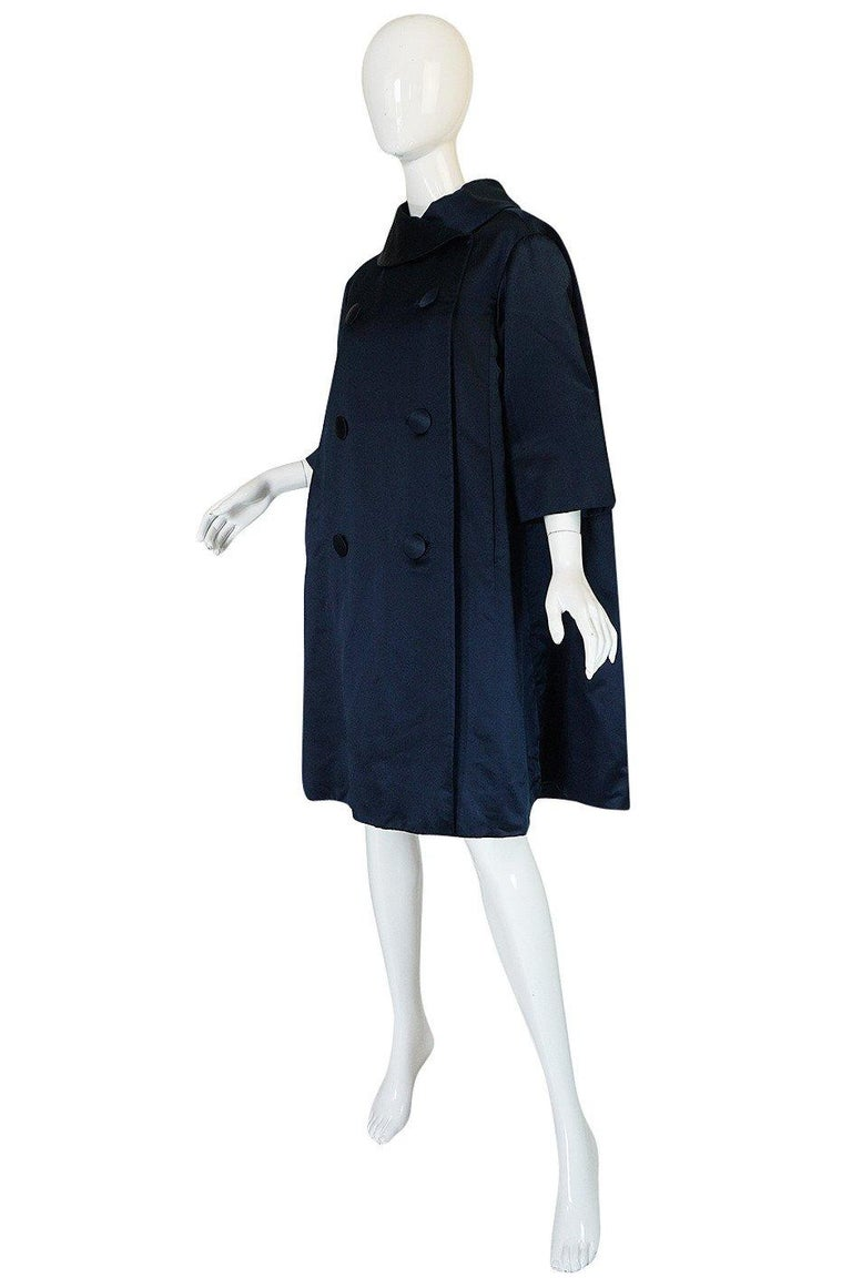 Black Fall 1958 Christian Dior by YSL Haute Couture Courbe Line Coat For Sale