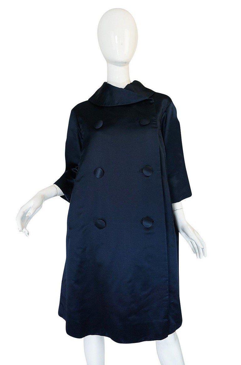 Women's Fall 1958 Christian Dior by YSL Haute Couture Courbe Line Coat For Sale