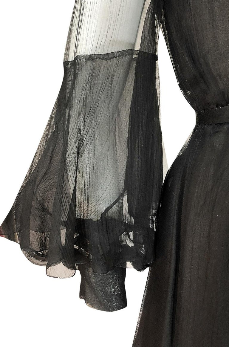 Fall 1972 Christian Dior Haute Couture Black Chiffon Cocktail Dress For Sale 6