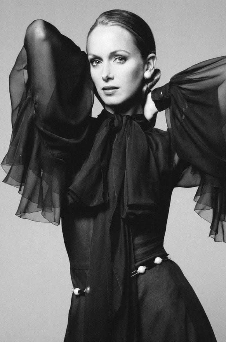Fall 1972 Christian Dior Haute Couture Black Chiffon Cocktail Dress For Sale 10