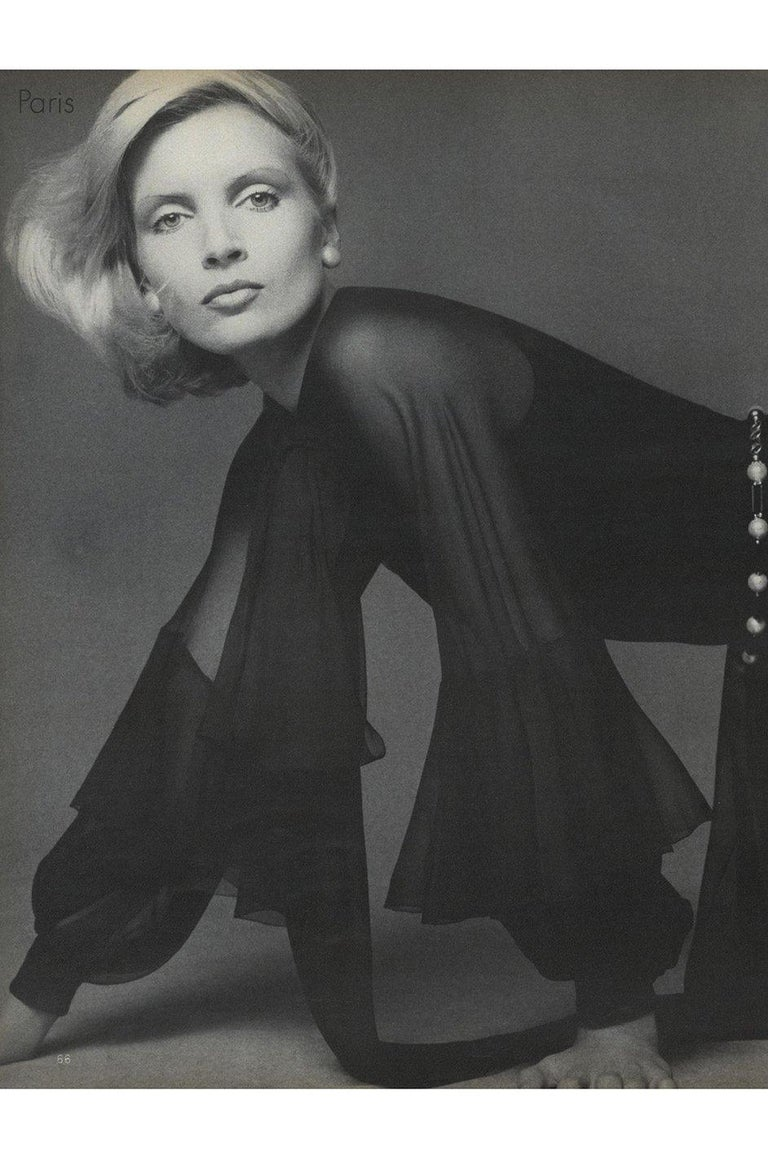 Fall 1972 Christian Dior Haute Couture Black Chiffon Cocktail Dress For Sale 11