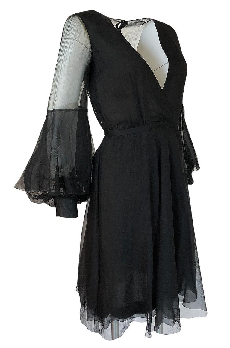 Fall 1972 Christian Dior Haute Couture Black Chiffon Cocktail Dress In Excellent Condition For Sale In Rockwood, ON