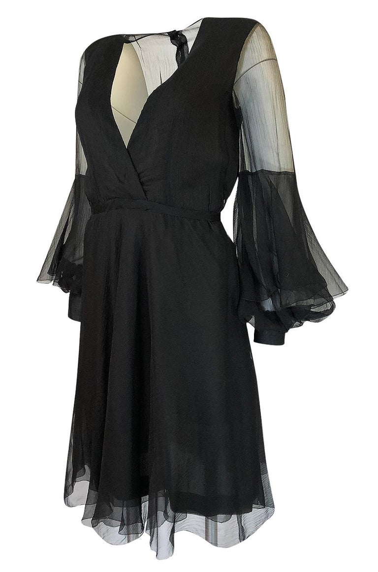 Women's Fall 1972 Christian Dior Haute Couture Black Chiffon Cocktail Dress For Sale