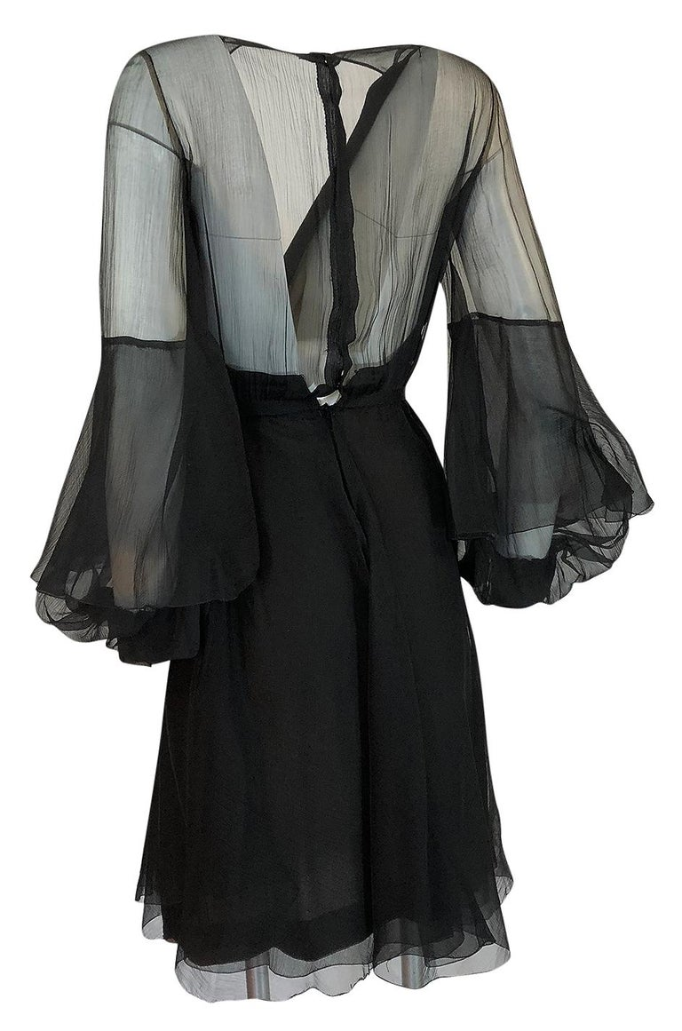 Fall 1972 Christian Dior Haute Couture Black Chiffon Cocktail Dress For Sale 1