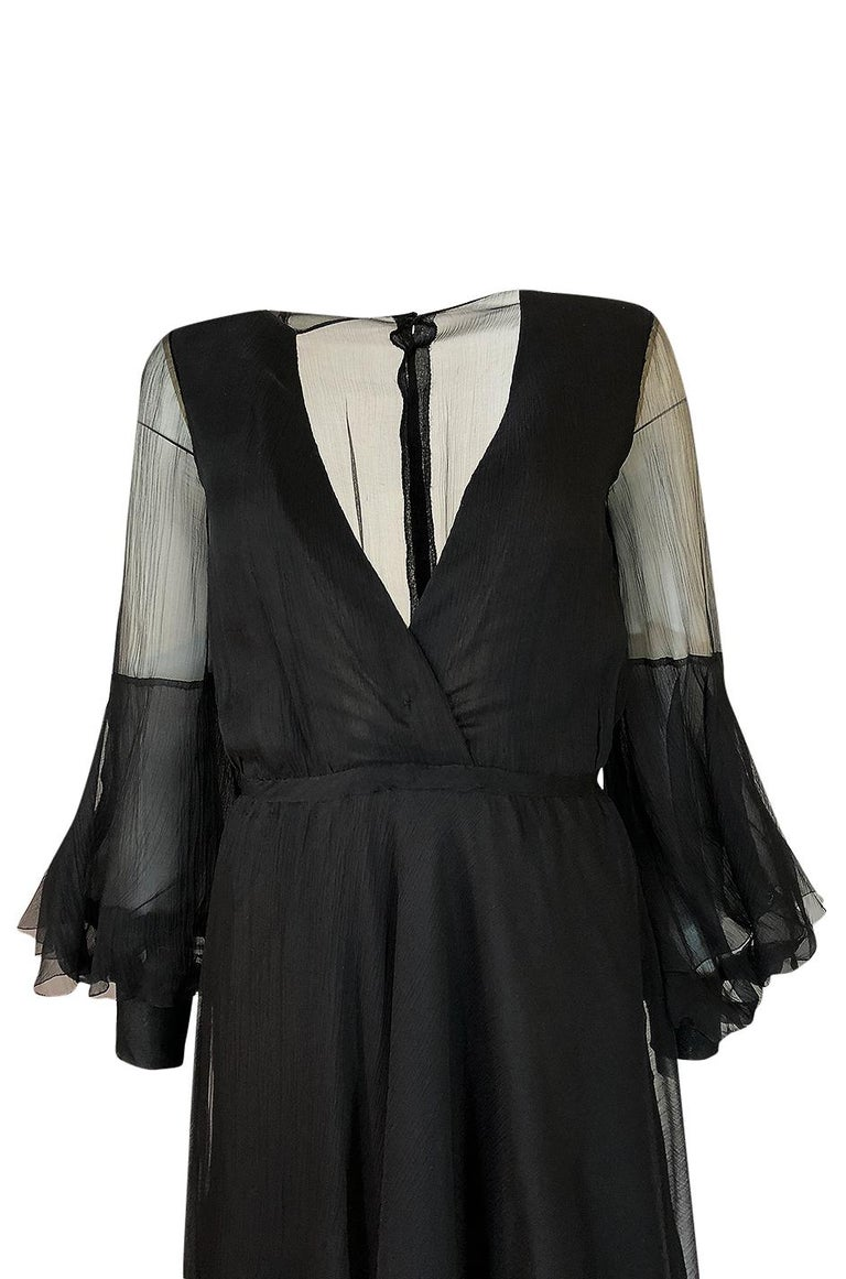 Fall 1972 Christian Dior Haute Couture Black Chiffon Cocktail Dress For Sale 2