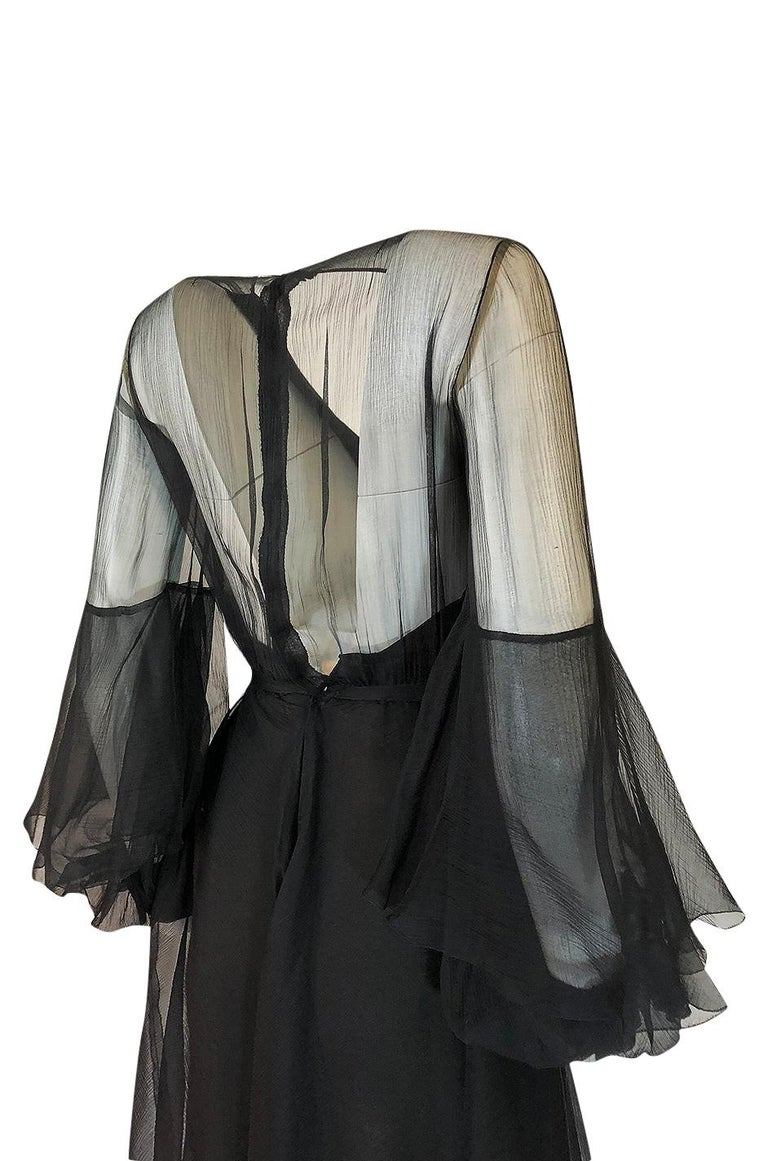 Fall 1972 Christian Dior Haute Couture Black Chiffon Cocktail Dress For Sale 3